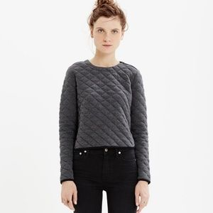 Madewell gray quilted crop sweater